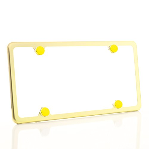One Gold Chrome T304 Stainless Steel Four Hole Slim License Plate Frame Holder Front Or Rear Bracket with Aluminum Screw Cap