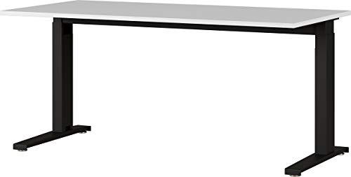 Amazon Marke - Alkove mechanisch höheneinstellbarer Schreibtisch Arlington, für ergonomisches Arbeiten, ideal für Home Office, in Lichtgrau/Schwarz, 160 x 88 x 80 cm (BxHxT)
