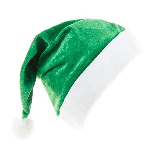 Guanweun Ao Gorro de Navidad de Felpa Gruesa Adultos Nios Decoraciones navideas para el hogar Regalos de Pap Noel Gorra de Terciopelo Verde de Invierno clido Sombreros de Santa Verde Lindo para