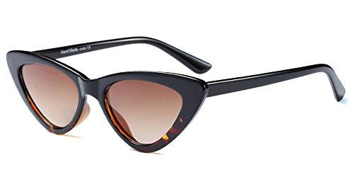 BOZEVON Gafas de sol Mujer Triángulo - UV400 Ojo De Gato Retro Vintage Cateye Gafas de sol Leopardo Marrón