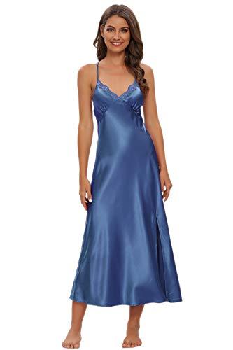 Alcea Rosea Damen Satin Nachthemd Spitze Ärmellose Dessous mit V-Ausschnitt Nachtwäsche Sexy rückenfreie Satin Slip Silk Negligee S-XXXL (Mitternachtsblau, L)