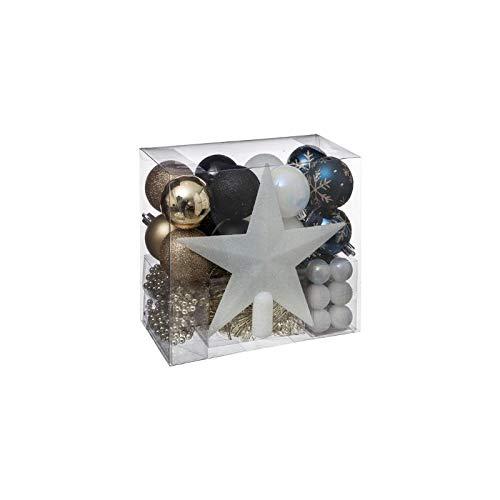 AC-Déco Kit de 44 décorations pour Sapin de Noël - Bleu et doré
