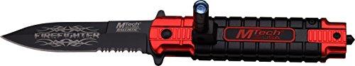 MTech USA Taschenmesser MT-A859 Serie, Messer DESIGNER ROT/ SCHWARZ ALU Griff, scharfes Jagdmesser, Outdoormesser 9,09 cm ROSTFREI Klinge Halbgezahnt, Klappmesser für Angeln/ Jagd