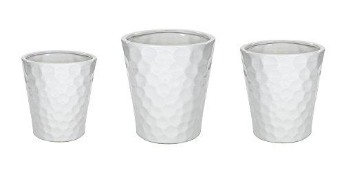 Decoline Keramik Blumentopf 3er Set glasiert weiß