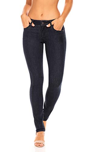 Earl Jean Women's Mid Rise Stretch Skinny Jeans (12, Dark Wash)