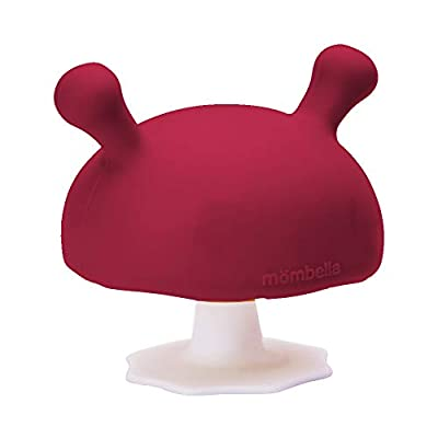 Mombella Mimi The Mushroom Soothing teether for Breast Feeding Baby who Does not take Pacifiers/Premature Baby who has weak jaw movement/0-6month with Sucking Needs. Chimney Red by Dongguan Phushen Baby Products Co., Ltd.