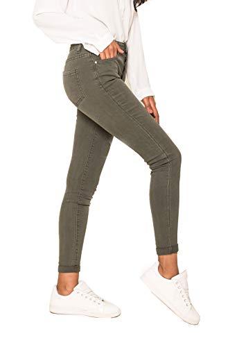 Crazy Age Damen Jeans Hose | 5 Pocket Denim | High Waist Jeans | Frauendenim in Herbstfarben |Super Skinny | Ultra Soft |Skinny | Stretch (Oliv, L~38)