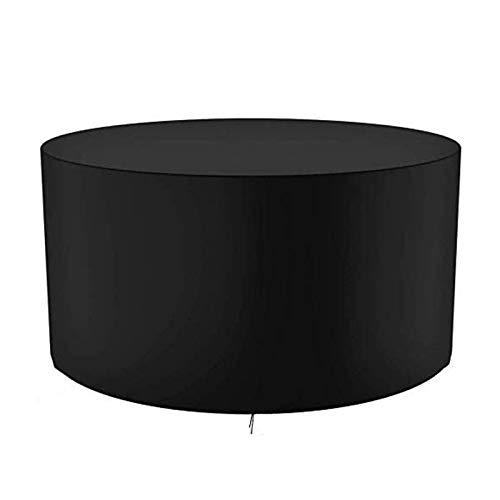 GAOANMO - Funda para muebles de jardín, redonda, 420D, resistente al agua, resistente al viento y anti-UV, cubierta de mesa circular para patio al aire libre
