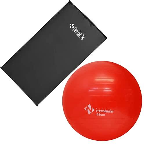 Kit Colchonete Academia + Bola Suíça Pilates e Ginástica 55cm Fitness