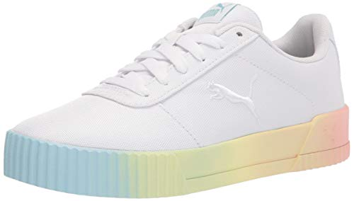 PUMA womens Carina Sneaker, Puma White-puma White-blue Glow-apricot Blush, 8 US