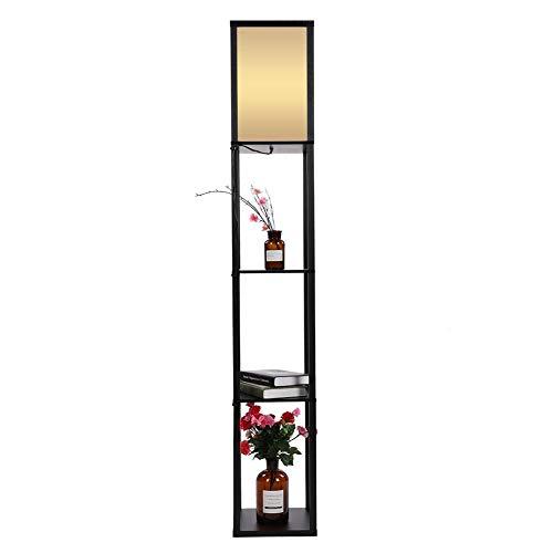 Lampadario con scaffale a 3 strati, lampada moderna su piede, in legno di quercia, perfetto per camera, ufficio, soggiorno, 160 x 26 x 26 cm Nero