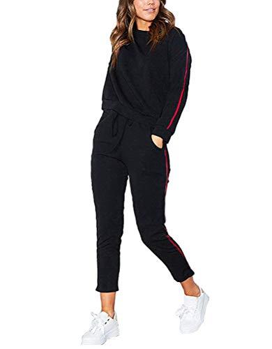 Tomwell Damen 2pcs Hausanzug Jogginganzug Langarm Pullover mit Hose Sportanzug Trainingsanzug Rundhals Sweatshirt Schwarz EU S