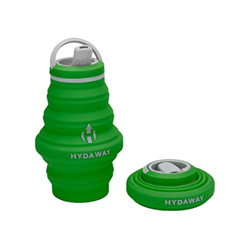 HYDAWAY Collapsible Water Bottle, 17oz Spout Lid | Ultra-Packable, Travel-Friendly, Food-Grade Silicone (Timber)