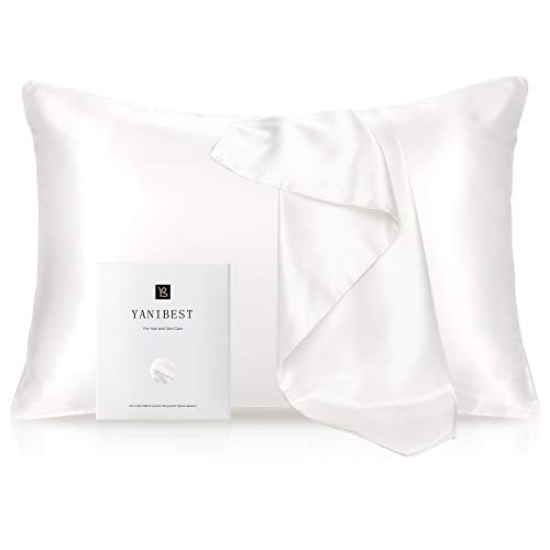 YANIBEST Silk Pillowcase for Hair and Skin - 21 Momme 600 Thread Count 100% Mulberry Silk Bed Pillowcase with Hidden Zipper, 1 Pack Queen Size Pillow Case White