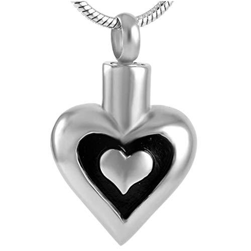 Wxcvz Collar para Cenizas Collar De Urna De Cremación para Mujer, Joyería Funeraria, Colgante con Medallón Conmemorativo De Doble Corazón, Recuerdo De Cenizas Humanas/para Mascotas