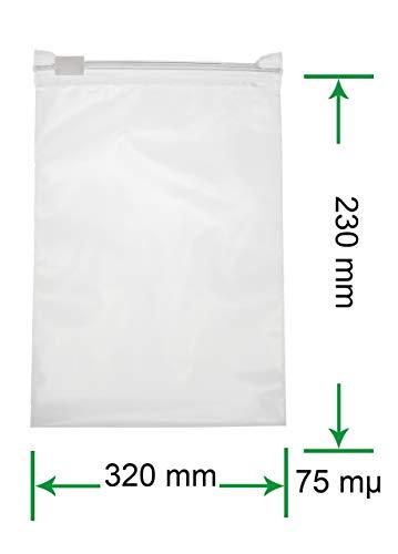 HeiZip 50 x Ziehverschlussbeutel 320 x 230 mm, 75 mµ/MY, Transparent, Wiederverschließbar, Lebensmittelecht
