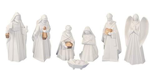 Moderne Krippenfiguren 7-teiliges Set Krippe Weihnachten Größe von 2,5-13 cm - weiß-Gold