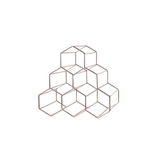 Mnjin - Botellero Creativo de Metal Dorado con diseño de Panal de Abeja, para Restaurante, Vino, Estructura Simple, Soporte para Botella Duradero (Color: Dorado)