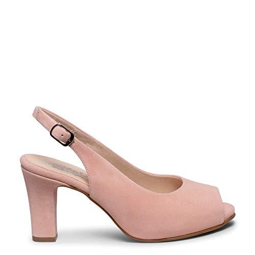 Zapatos miMaO. Zapato de Piel Hechos EN ESPAÑA. Zapato Peeptoe Destalonado. Zapato Salón Destalonado Cómodo Plantilla Gota Ultra Confort Gel