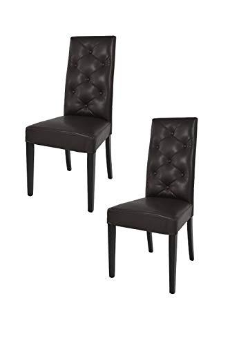 t m c s Tommychairs - Set 2 sillas Chantal para Cocina, Comedor, Bar y Restaurante, solida Estructura en Madera de Haya y Asiento tapizado en Polipiel marrón
