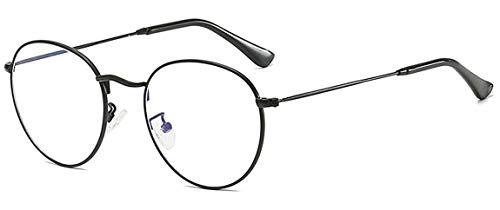 MIGOO Klassische Runde Blaulichtfilter Brille Ohne Stärke Metall Rahmen Retro Brillenfassungen Nerdbrille Unisex (Herren/Damen)