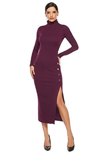TSEINCE Col Haut IDE Split Élégant Robe Midi Tricotée Automne Hiver Femmes Vin Rouge Noir Bleu Foncé À Manches Longues Crayon XXXL 8001-Vin Rouge