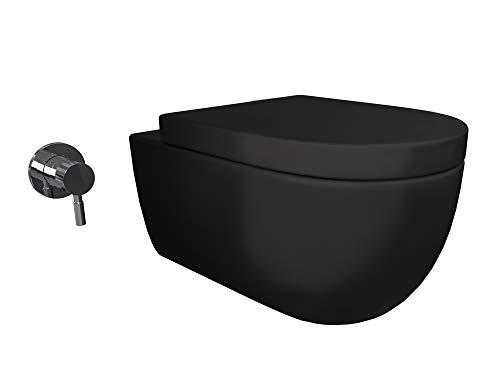 Aqua Bagno Taharet WC-Set Cocon 2.0 Big schwarz matt inkl. Softclose Sitz