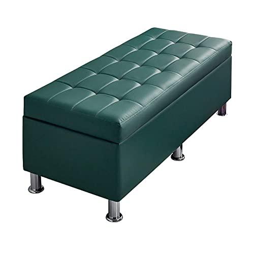 ZAIHW Taburete de almacenamiento de PU con tapa abatible, banco de zapatos, manta de madera, contenedor de maletero o caja de sentado, para sala de estar, pasillo, entrada, verde, 120 cm