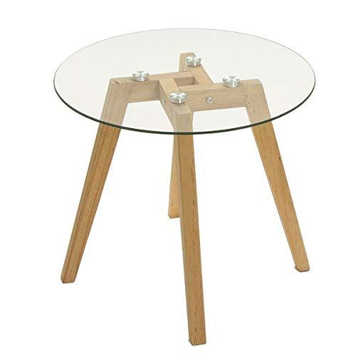 Mesa auxiliar de cristal y madera, redonda, 45 cm