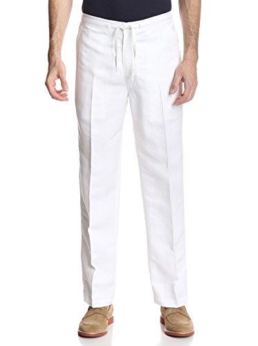 Cubavera Men's Drawstring Linen-Blend Pant with Back Elastic Waistband, Bright White, Large x 30L