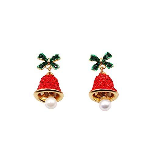 Fenical 1 Paar Weihnachten Strass Ohrring Jingle Bell Ohrstecker Bowknot Windspiel Ohrringe für Mädchen Frauen