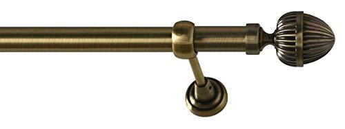 Sento 25mm Metall Gardinenstange Vorhangstange 1-läufig Messing Antik Classic Donata 140 cm (1x140cm)