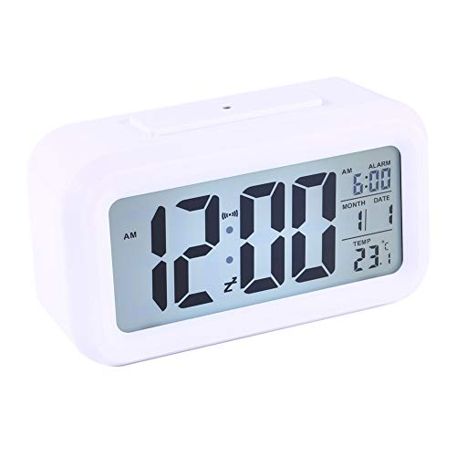 Fydun Reloj despertador digital LED Luz de fondo LED Snooze digital Escritorio Reloj despertador Temperatura Calendario Pantalla Local