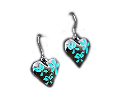 Little Love - Pendientes de corazón brillante con diseño de mariposas y flores, brillan en el DAR, joyas brillantes, pendientes de mariposa, pendientes de flor, pendientes de corazón