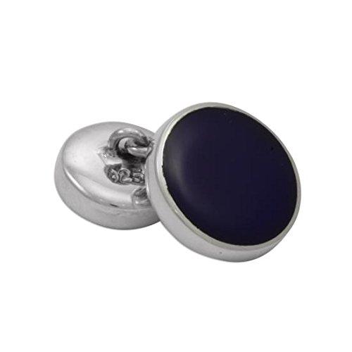 Boutons de Manchette Ronds en Argent 925/1000 et Lapis Lazuli - A Chaînette