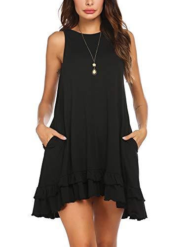 UNibelle Tunika Kleid Freizeitkleid Vintage Kleid Lose Casual Swing Kleid Minikleid Kleider Langes Shirt Lose Kleider