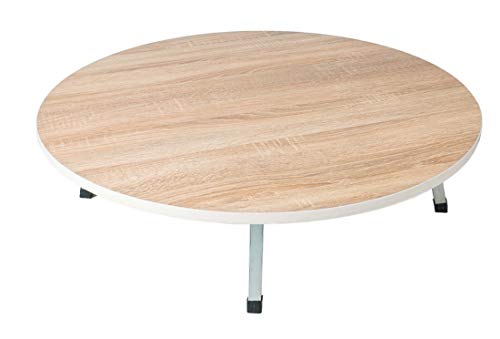 Mesa de madera turca con patas plegables, tradicional, mesa de comedor Yufka Manti redonda, oriental plegable con patas de metal, tamaño 60 cm de diámetro