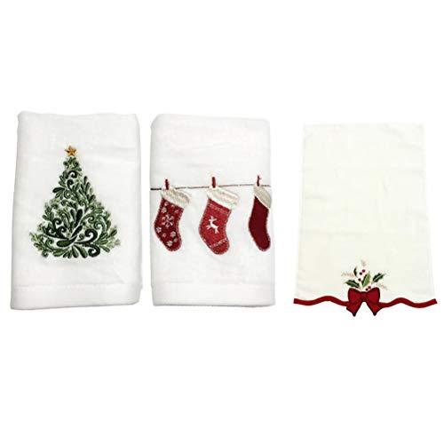 Tixiyu 3 toallas de mano navideñas para cocina, baño, algodón puro, regalo de Año Nuevo (60 x 36 x 0,3 cm)