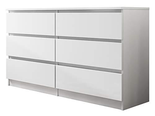 Kommode mit 6 Schubladen Malwa M6 140, Anrichte, Diele, Flur, Highboard, Mehrzweckschrank, Sideboard, Wohnzimmer (Weiß)