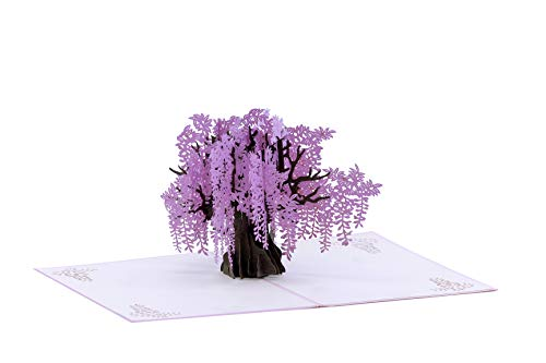 Flowers & Tree's 3D Pop up Card for Birthday, Graduation, Valentines, Mother's Day, Anniversary, Thank You, Get Well, All Occasions (Purple Wisteria)