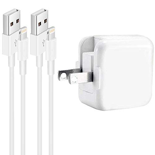12W USB Wall Charger Compatible with iPad 4/ Mini 2 3 4 / Air 2/ Pro 12.9 / iPhone Xs Max/XS/XR/X/ 8 7 6s 6 Plus,Foldable Portable Travel Block Plug and 2 Pack Lightning Cable