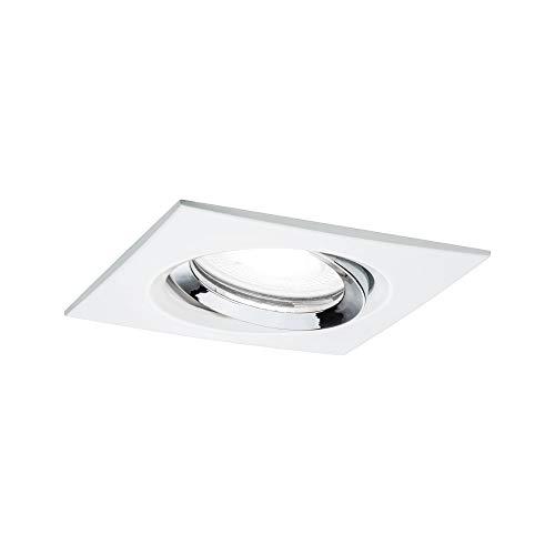Paulmann Nova Plus 93674 Spot LED encastrable carré orientable avec 1 x 6 W IP65 à intensité variable Blanc mat chromé 4000 K GU10