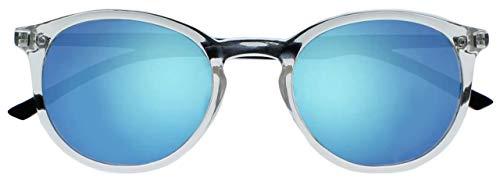 Opulize Met Groß Komfortables Klar Schwarz Arme Blau Verspiegelte Linse Herren Damen Sonnen-Leser Lesebrille UV400 S60-C +2,50