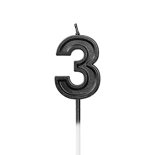 LUTER Black Glitter Happy Birthday Cake Candles Number Candles Number 3 Birthday Candle Cake Topper Decoration for Party Kids Adults (Number 3)