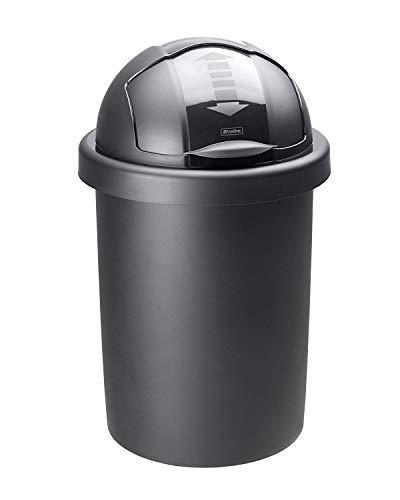 Rotho Roll Bob, cubo de basura redondo de 30l con tapa, Plástico PP sin BPA, negro, 30l 35.5 x 35.5 x 59.5 cm