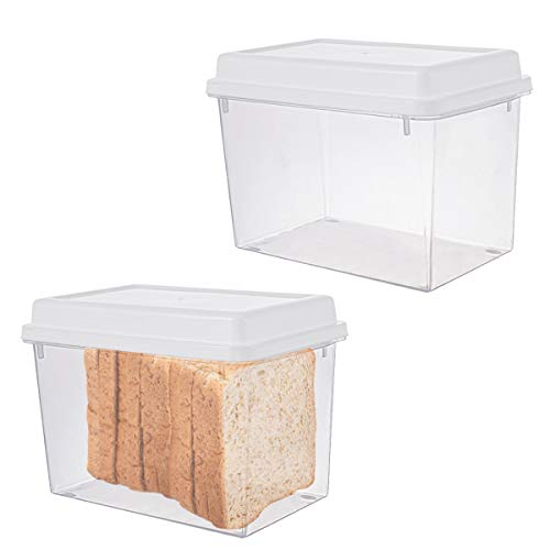 2Pcs Plastic Toast Bread Box Clear Snack Container Box for Loaf,Muffin Pastries, Donuts, Bread Rolls, Buns or Sandwiches (2Pcs White)