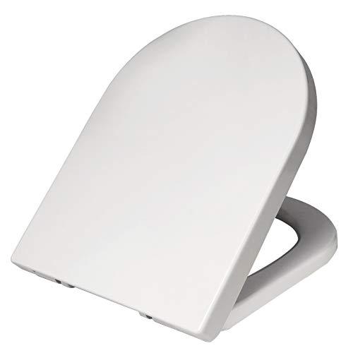 Toilettensitz D-Form Toilettensitz Weiß Soft Slow Close Scharnier Schnellwechsel-Toilettensitz