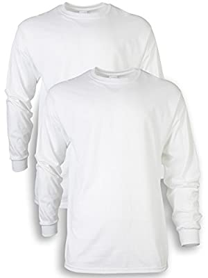 Gildan Men's Ultra Cotton Adult Long Sleeve T-Shirt, 2-Pack, White, X-Large