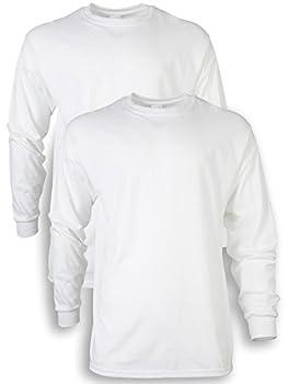Gildan Men s Ultra Cotton Long Sleeve T-Shirt Style G2400 2-Pack White Large