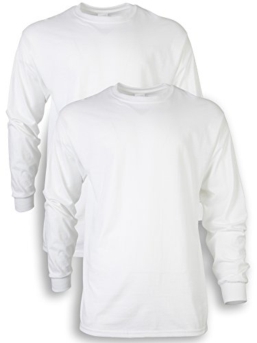 Gildan Men's Ultra Cotton Adult Long Sleeve T-Shirt, 2-Pack, White, Large